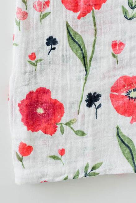 Muselina algodón Amapolas 120×120