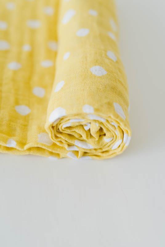 Muselina algodón Amarilla Copos 120×120