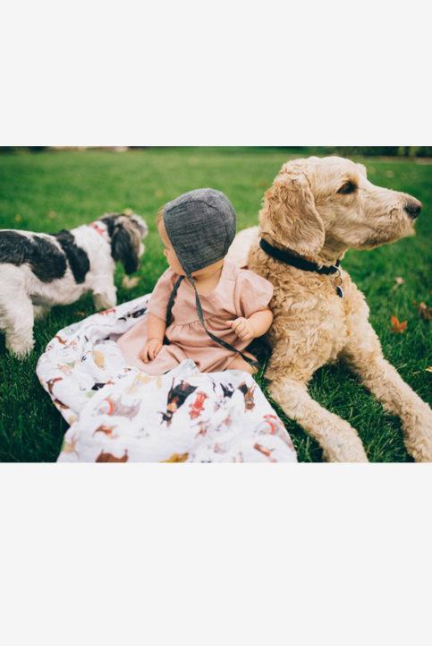 Muselina bebé estampado perros