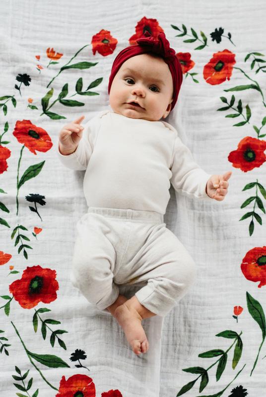 Kit fotos bebé Amapolas. Fondo Muselina + tarjetas edad