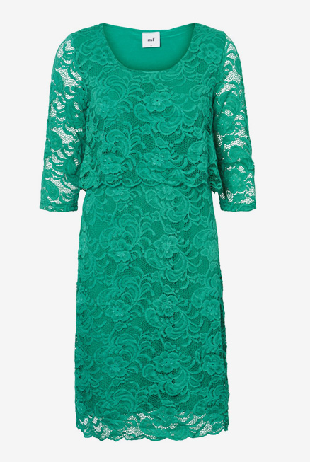 Vestido lactancia fiesta encaje esmeralda