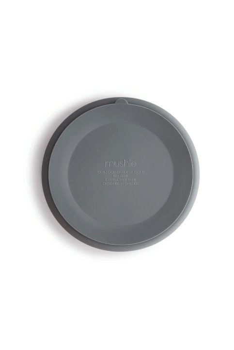 Plato silicona Mushie gris