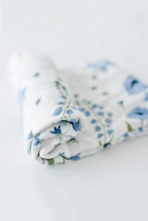 Muselina bambú Flores azules 120×120