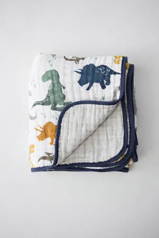 Manta muselina algodón Dinosaurios 120×120