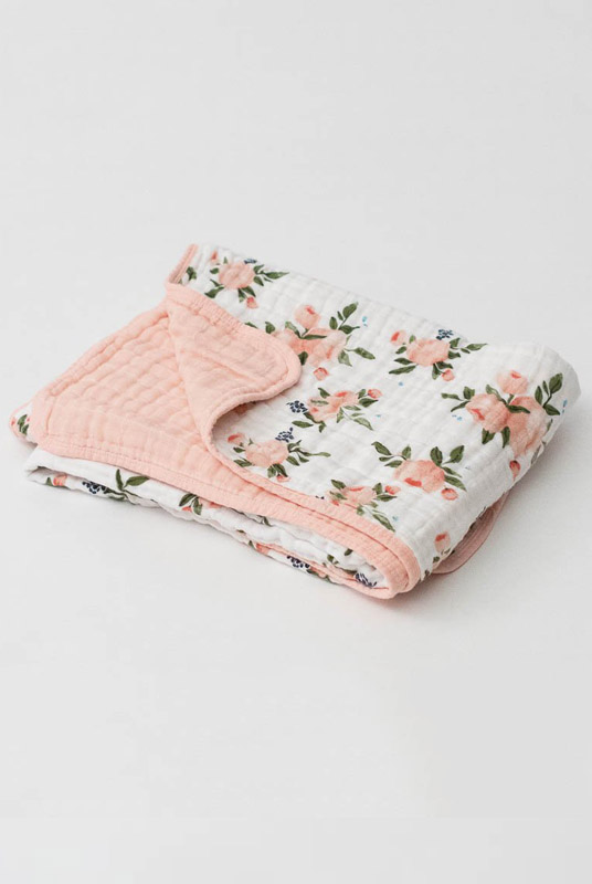 Manta muselina algodón Watercolor-rose 120×120