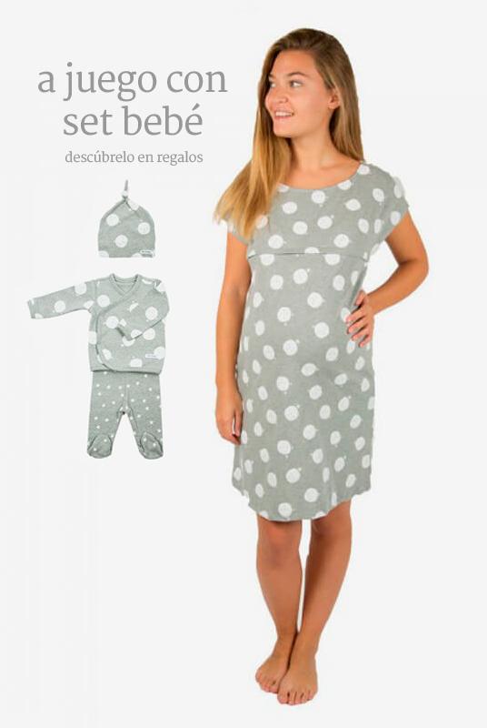 Camisón de maternidad y lactancia luna blanca
