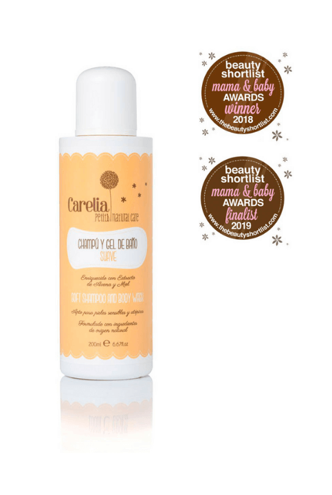 CHAMPÚ Y GEL DE BAÑO SUAVE CARELIA 200ML