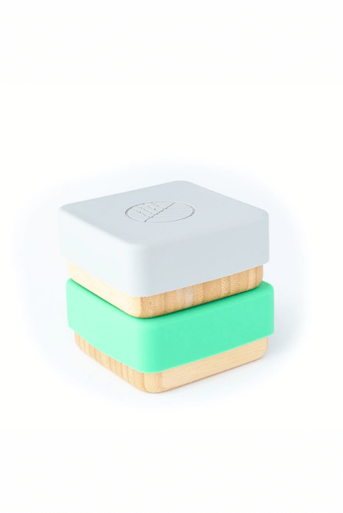 Set 2 cajas Snack Bambú Verde/Gris